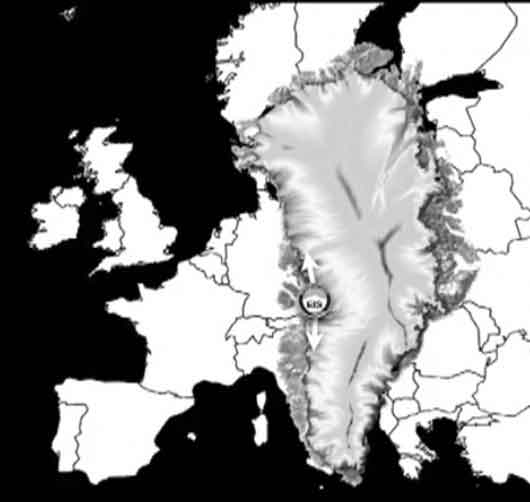 Greenland compared to Europe's size