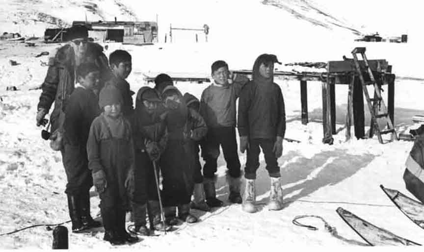 Inuit Kids getting picture taken with me.